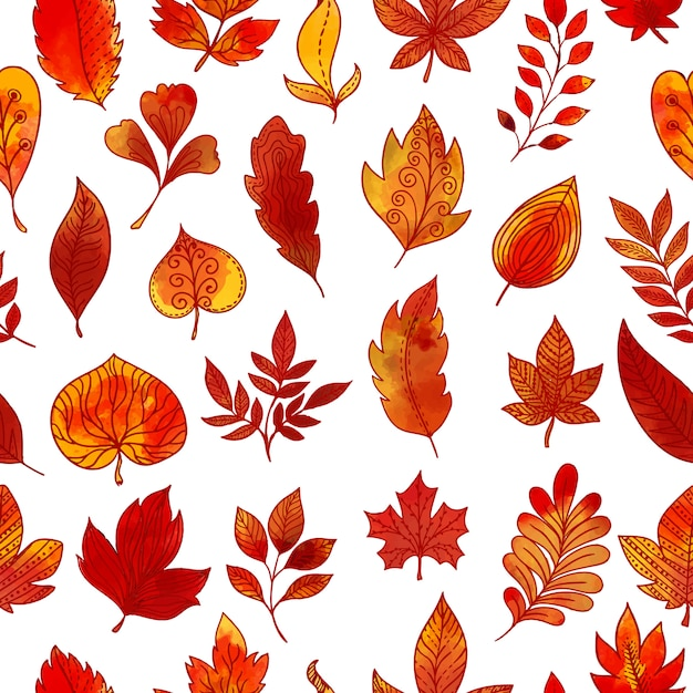 Follaje de otoño de patrones sin fisuras vector gratuito
