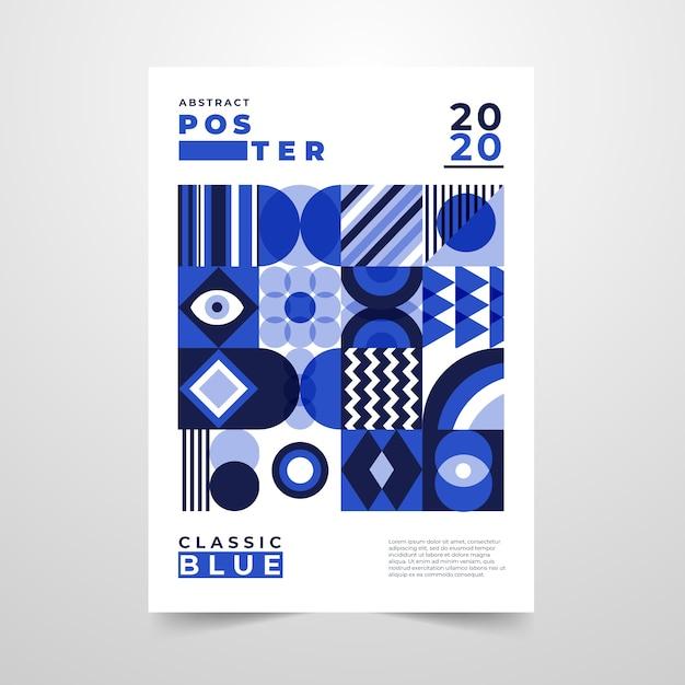 Folleto abstracto con formas geométricas azules vector gratuito