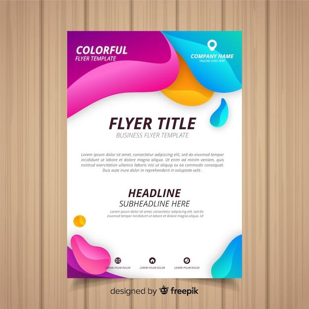 Folleto abstracto de negocios con estilo colorido vector gratuito