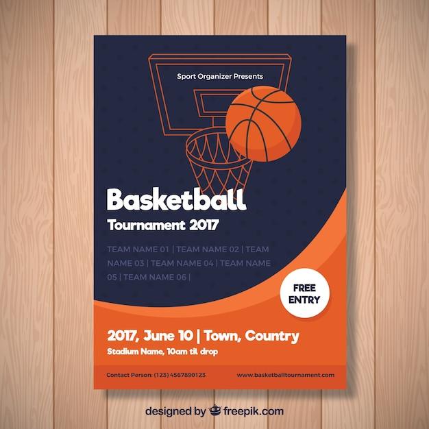 Folleto abstracto de torneo de baloncesto vector gratuito