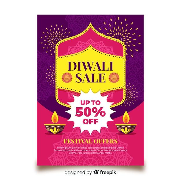 Folleto adorable de rebajas de diwali con diseño plano vector gratuito