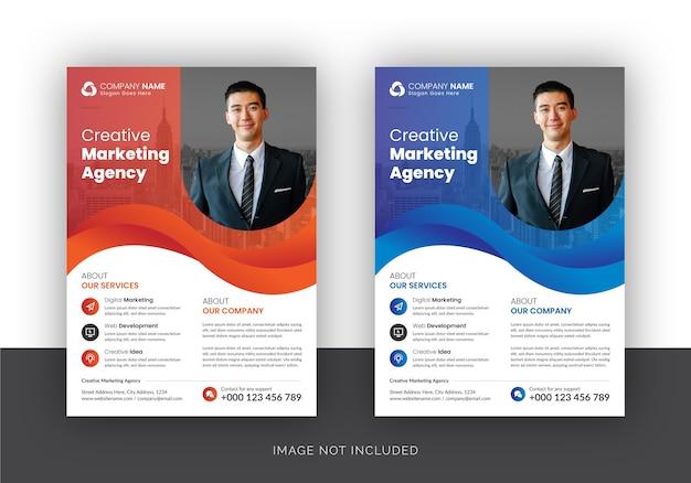 Folleto de agencia de marketing digital de negocios corporativos Vector Premium