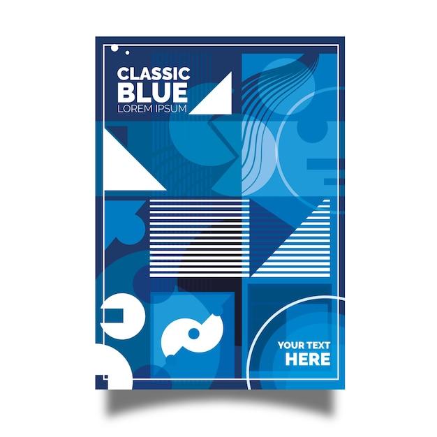 Folleto azul clásico con diseño geométrico abstracto. vector gratuito
