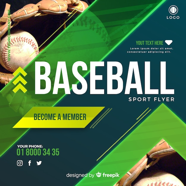 Folleto de beisbol vector gratuito