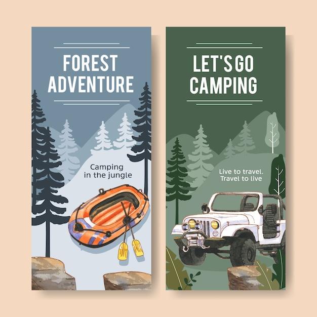 Folleto de camping con bote inflable, coche y linterna ilustraciones. vector gratuito