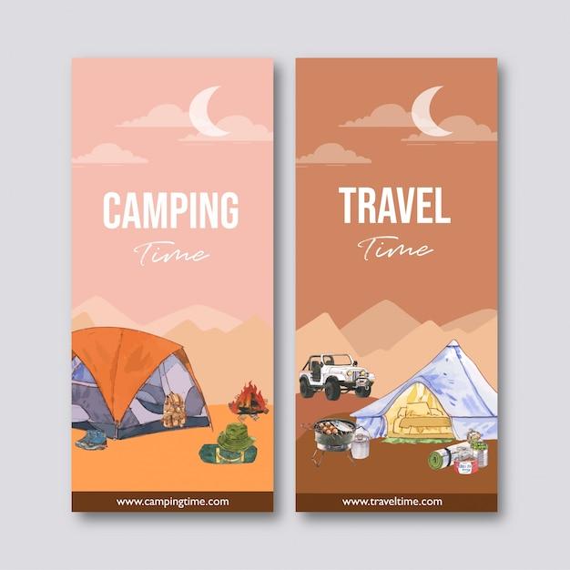 Folleto de camping con carpa, furgoneta, mochila e ilustraciones de comida enlatada. vector gratuito
