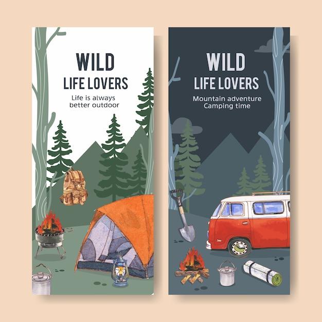 Folleto de camping con carpa, hoguera, mochila y linterna. vector gratuito