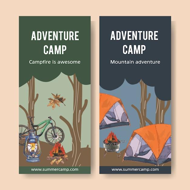 Folleto de camping con fogata, bicicleta, carpa y linterna ilustraciones. vector gratuito