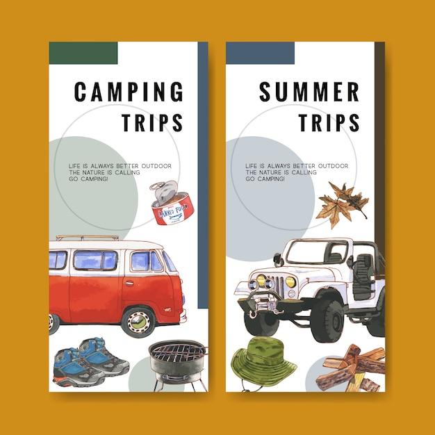 Folleto de camping con furgoneta, carpa y sombrero de cubo ilustraciones. vector gratuito