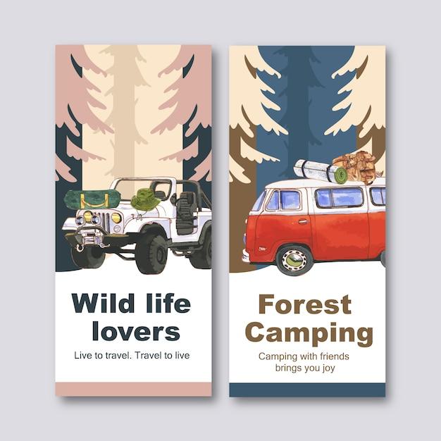 Folleto de camping con furgoneta, mochila, sombrero de cubo e ilustraciones de carpa. vector gratuito