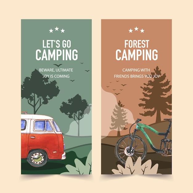 Folleto de camping con ilustraciones de árboles, bicicletas, furgonetas y bosques. vector gratuito
