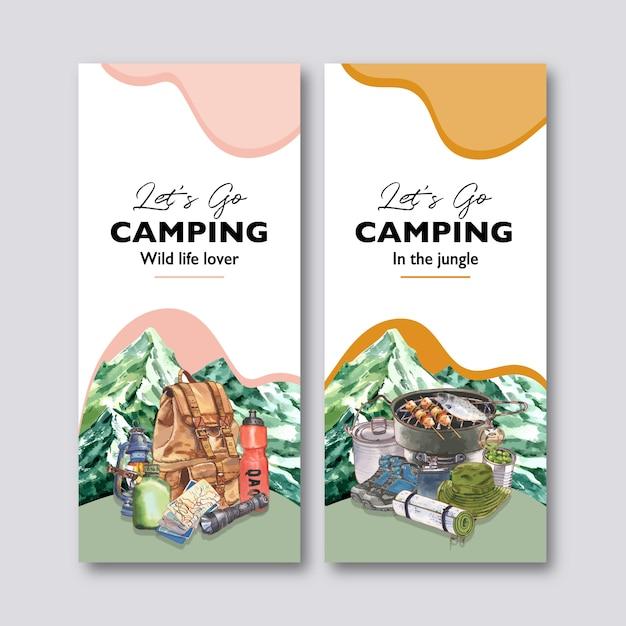 Folleto de camping con mochila, linterna, olla de campamento e ilustraciones de frascos vector gratuito