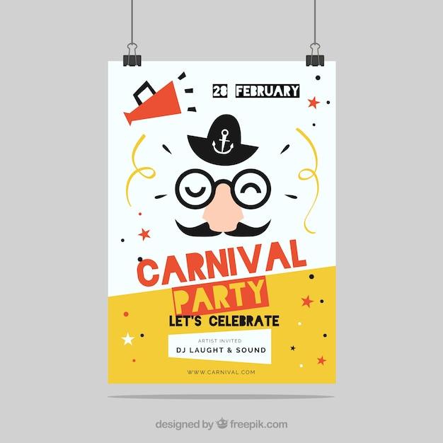 Folleto/cartel plano de fiesta de carnaval vector gratuito