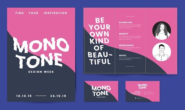 Folleto, carteles y plantilla de tarjeta de visita. vector gratuito