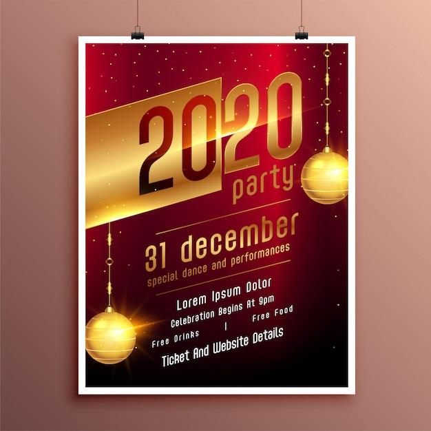 Folleto de celebración de fiesta de año nuevo o plantilla de póster vector gratuito
