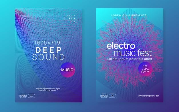 Folleto del club de neón. electro dance music. fiesta de trance dj. electroni Vector Premium