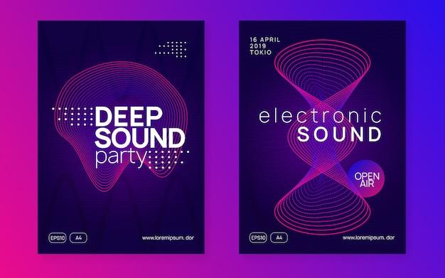 Folleto del club de neón. música electro dance. fiesta de trance dj. festival de sonido electrónico. cartel del evento techno. Vector Premium