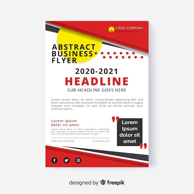 Folleto comercial abstracto con diseño corporativo vector gratuito