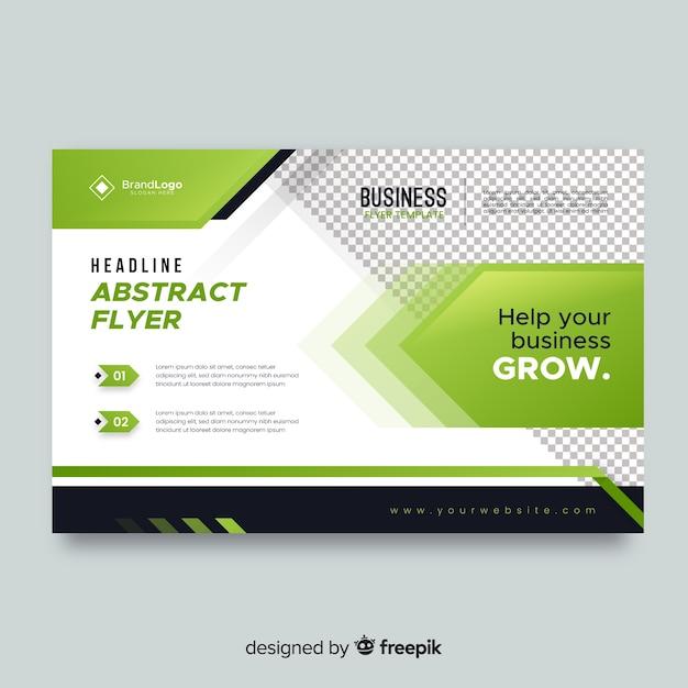 Folleto comercial con elementos verdes vector gratuito