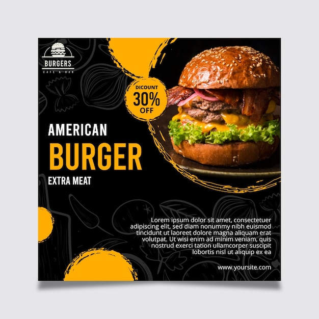 Folleto de comida americana Vector Premium