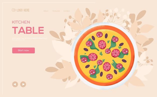 Folleto de concepto de pizza, banner web, encabezado de interfaz de usuario, ingresar al sitio. Vector Premium
