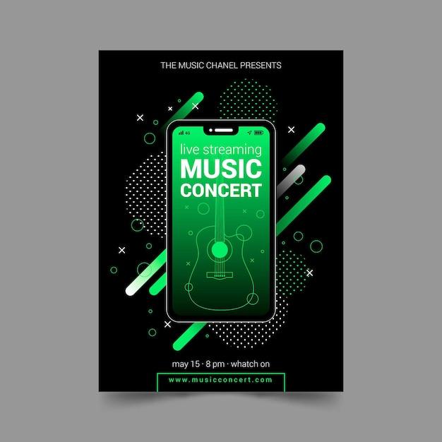 Folleto de concierto de música en vivo vector gratuito