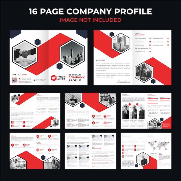 Folleto corporativo, catálogo o dossier corporativo de 16 páginas. Vector Premium