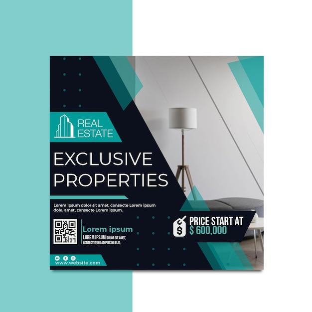 Folleto cuadrado de bienes raíces Vector Premium
