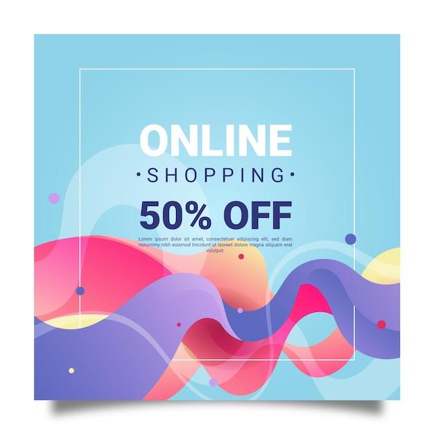 Folleto cuadrado de compras en línea vector gratuito