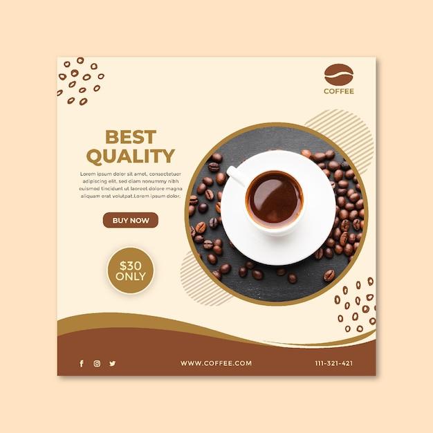 Folleto cuadrado de taza de café y frijoles de la mejor calidad Vector Premium