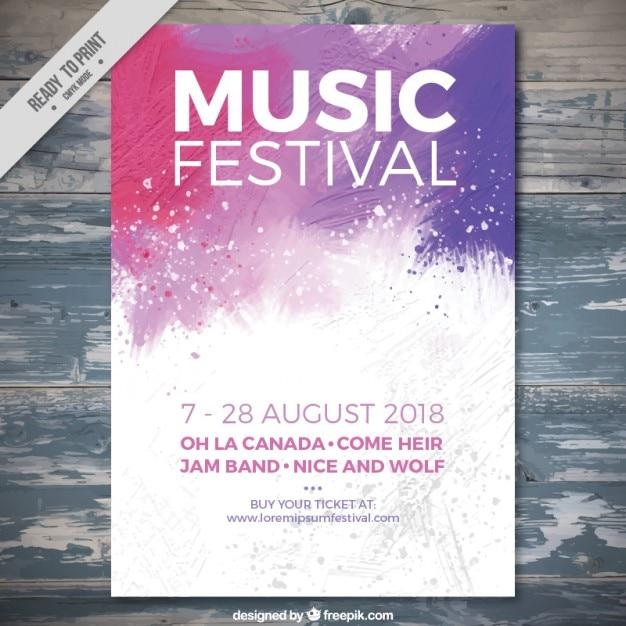 Folleto de festival de música de salpicadura Vector Gratis