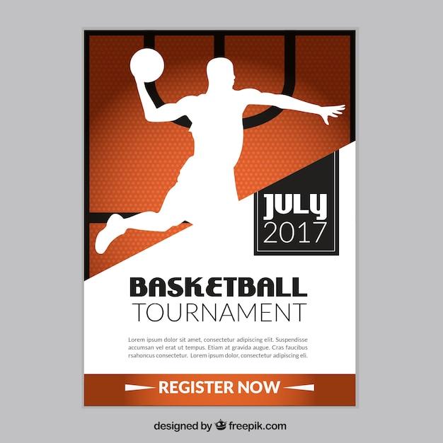 basketball tournament program template - folleto de torneo de baloncesto con silueta de jugador