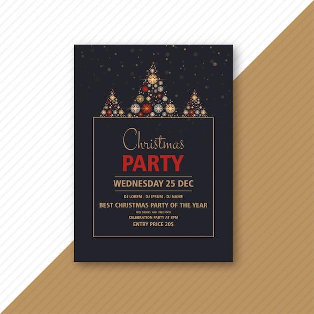 Folleto decorativo de fiesta de navidad con copos de nieve creativos vector gratuito