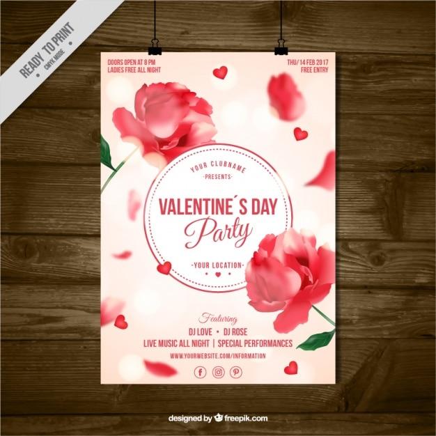 Folleto del día de san valentín con decoración floral y efecto bokeh Vector Gratis