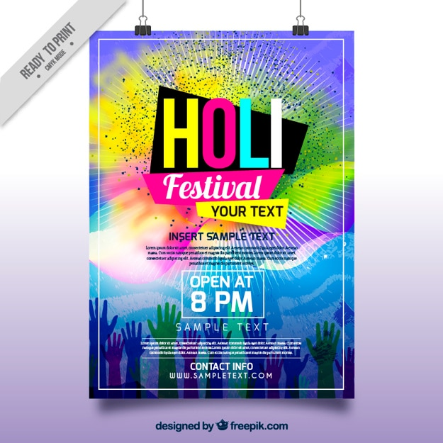 Folleto del festival holi con manchas de colores y manos Vector Gratis