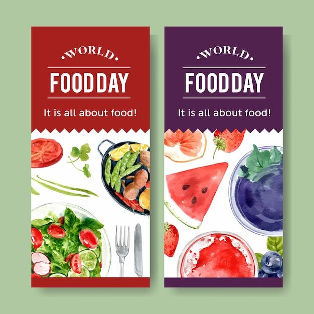 Folleto del día mundial de la comida con ensalada y fruta aderezo ilustración acuarela. vector gratuito