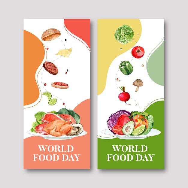 Folleto del día mundial de la comida con tomate, pollo, pimiento, remolacha acuarela ilustración. vector gratuito