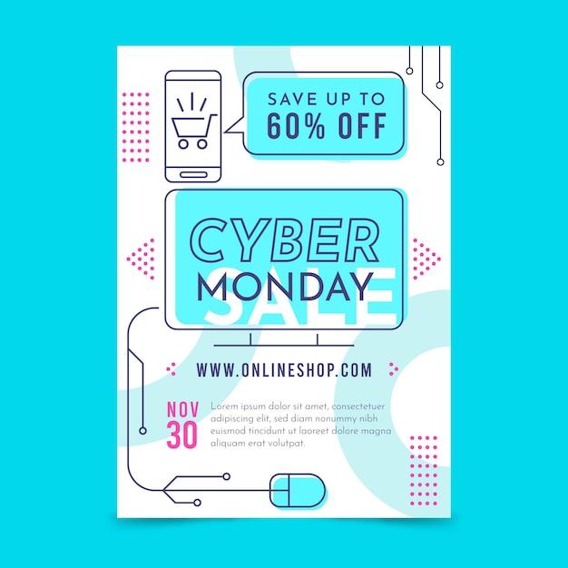 Folleto de diseño plano de cyber monday vector gratuito