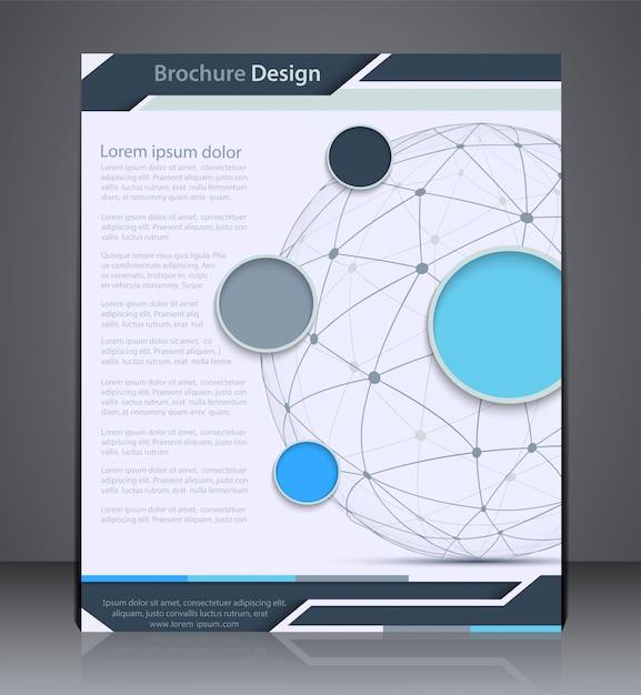Folleto de diseño vectorial con esfera, plantilla de diseño de volante, web, diseño con colores azules Vector Premium