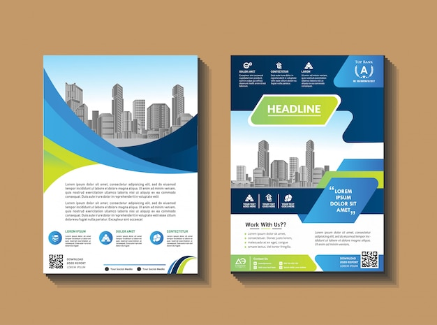 Folleto de empresa de diseño de folleto. informe anual. Vector Premium