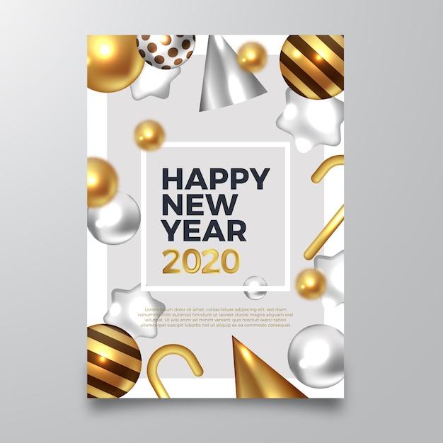 Folleto de feliz año nuevo 2020 con decoraciones doradas realistas vector gratuito