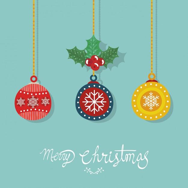 Folleto de feliz navidad con bolas decorativas colgando vector gratuito