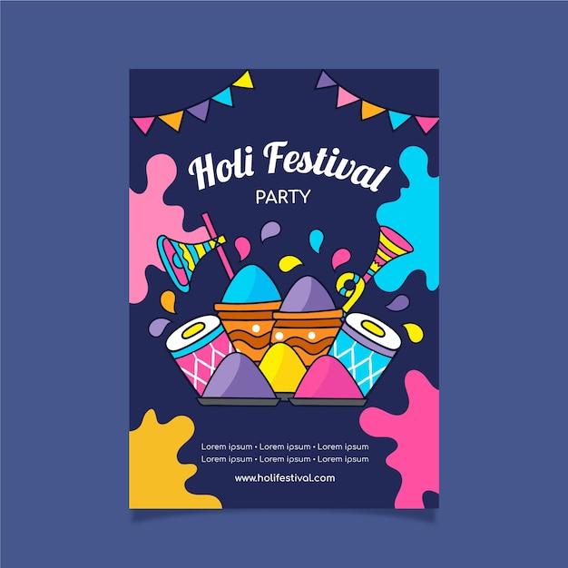 Folleto de festival dibujado a mano con diseño colorido y pintura en polvo vector gratuito