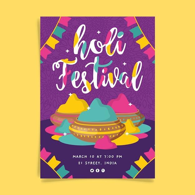 Folleto de festival holi dibujado a mano vector gratuito