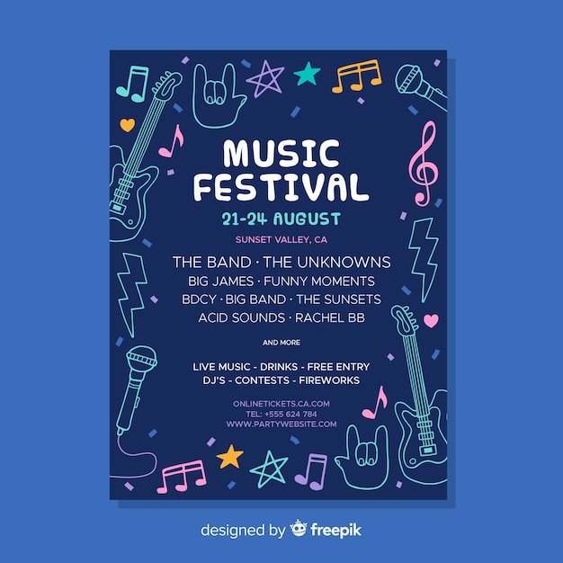 Folleto de festival de música vector gratuito