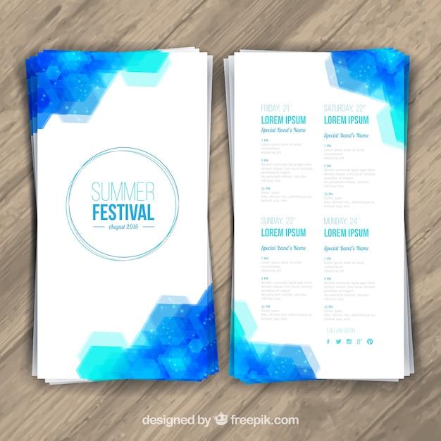 Folleto festival de verano vector gratuito