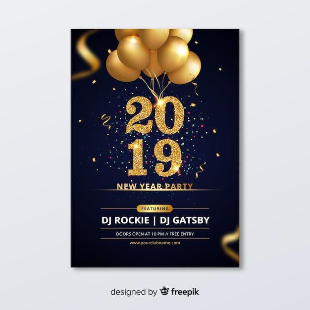 Folleto de fiesta de año nuevo 2019 vector gratuito