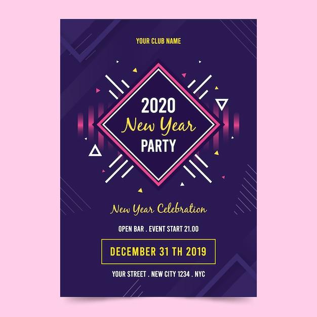 Folleto de fiesta de año nuevo abstracto de plantilla vector gratuito