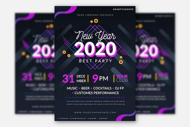 Folleto de fiesta de año nuevo plano de plantilla vector gratuito
