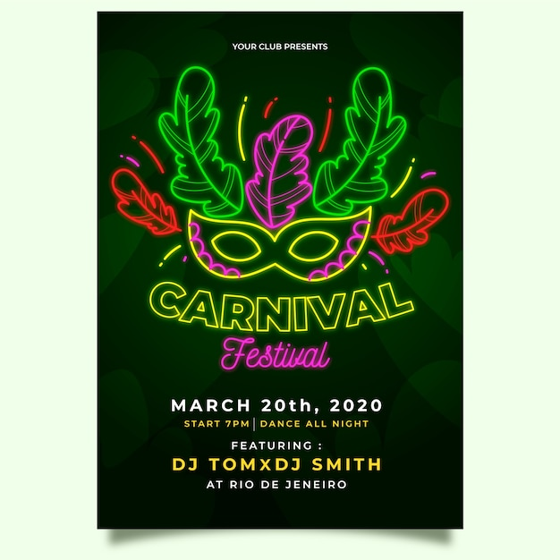 Folleto de fiesta de carnaval de máscara de festival verde vector gratuito